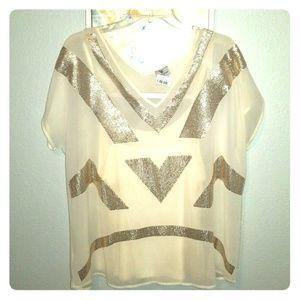Worthington cream & gold short sleeve tunic